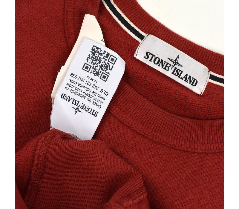 Stone Island red cotton fleece crew neck sweatshirt M