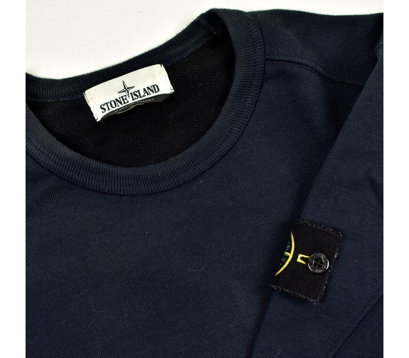 Stone Island navy cotton fleece crew neck sweatshirt M