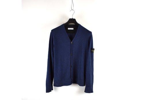 Stone Island Stone Island blue cotton knit v-neck cardigan L