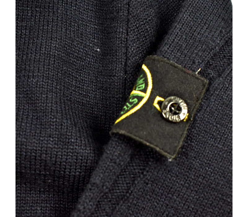 Stone Island navy nylon metal hooded full zip wool knit XXL