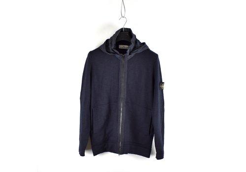 Stone Island Stone Island navy nylon metal hooded full zip wool knit XXL