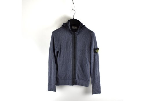 Stone Island Stone Island blue nylon metal hooded full zip cotton knit cardigan M