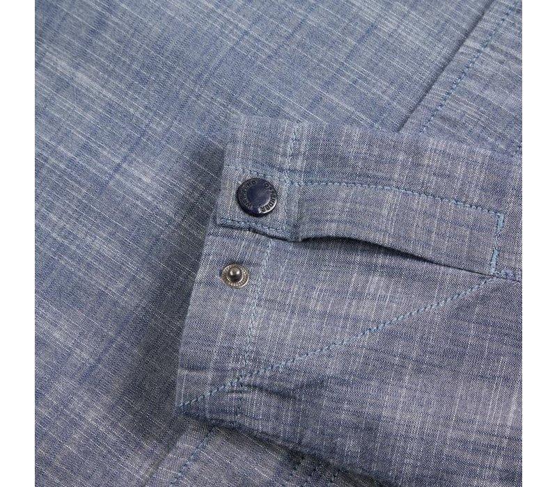 Weekend Offender Bowmans long sleeve overshirt Chambray Blue