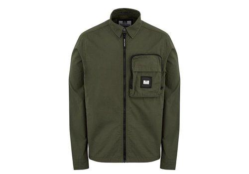 Weekend Offender Weekend Offender Railay long sleeve cotton ripstop overshirt Dark Army Green