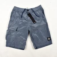 Stone Island blue nylon metal patch program cargo shorts S