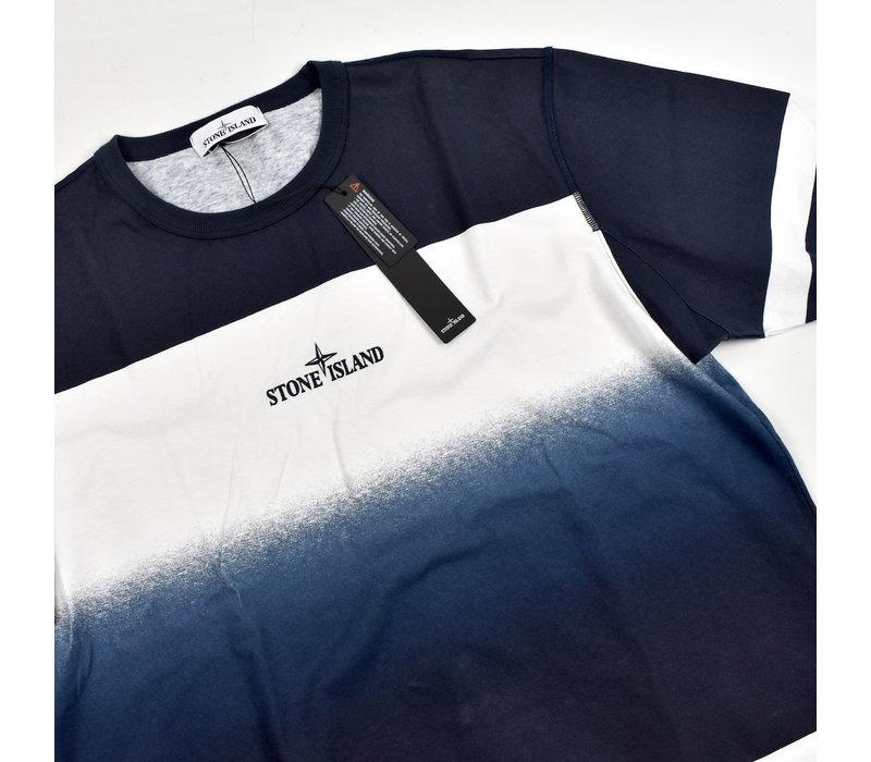 Stone Island blue shaded print stripes t-shirt XL