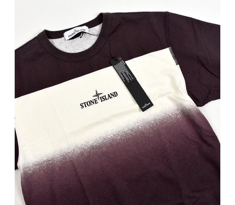 Stone Island red shaded print stripes t-shirt S