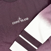 Stone Island red shaded print stripes long sleeve t-shirt S