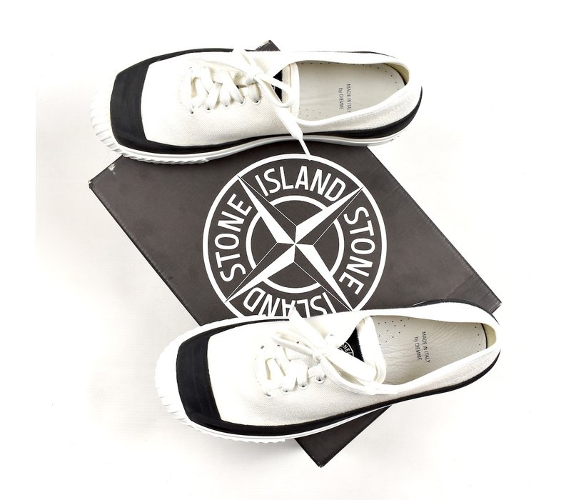 Stone Island x Diemme white canvas low trainers 45