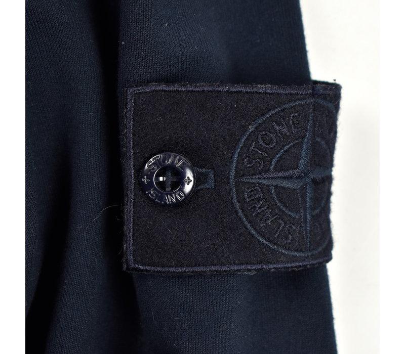 Stone Island navy cotton ghost hooded half zip sweatshirt S