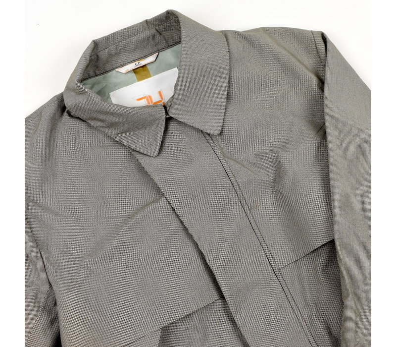 C.P. Company grey houndstooth 24 project coated cotton trench coat 52