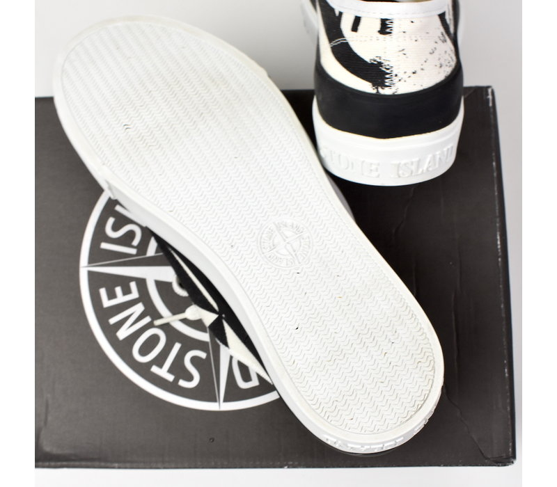 Stone Island x Diemme white graphic canvas low trainers 41