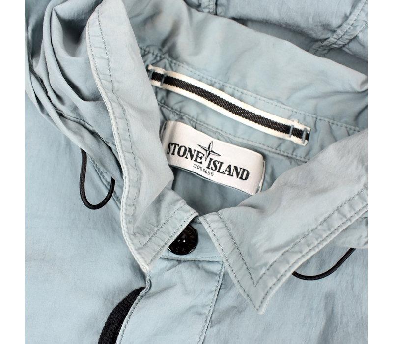 Stone Island light blue hydrophobic treatment cotton nylon poplin hooded overshirt jacket XXL