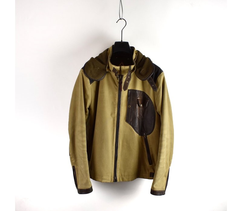 C.P. Company yellow brown British Millerain and  leather mille miglia goggle jacket 52