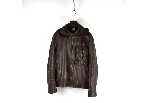 C.P. Company C.P. Company brown leather mille miglia goggle jacket 56