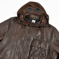 C.P. Company brown leather mille miglia goggle jacket 56