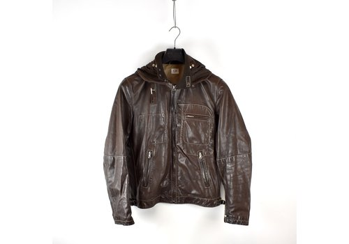 C.P. Company C.P. Company brown soft leather mille miglia goggle jacket 50