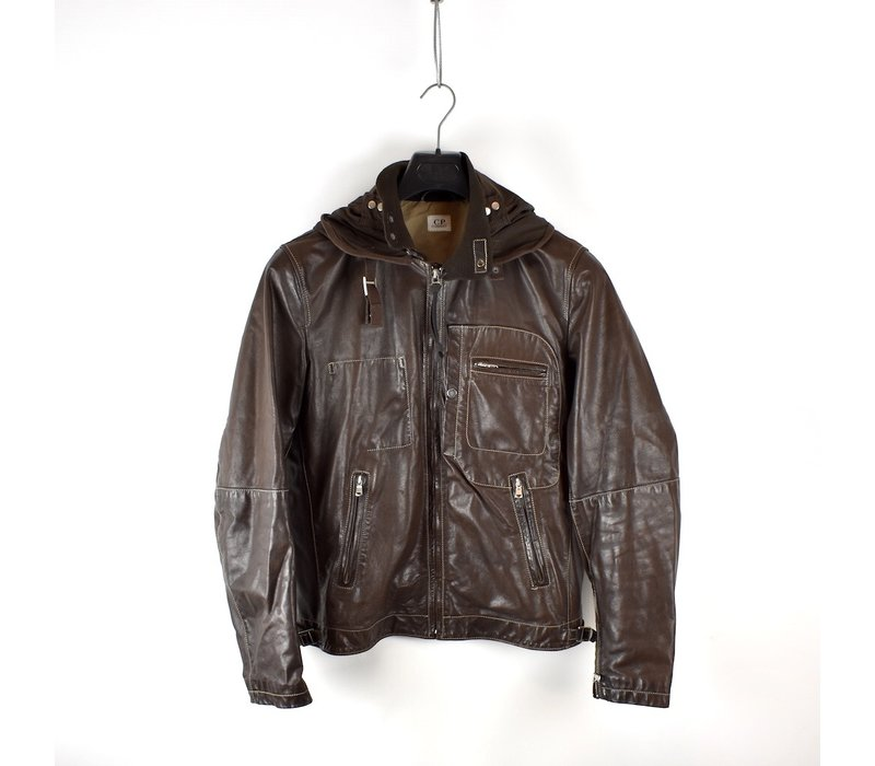 C.P. Company brown soft leather mille miglia goggle jacket 50