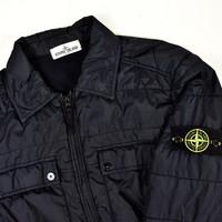 Stone Island navy garment dyed crinkle rep ny overshirt jacket XL