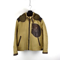 C.P. Company yellow brown British Millerain and  leather mille miglia goggle jacket 54