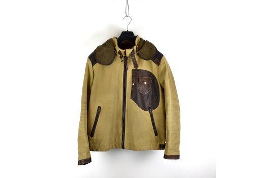 C.P. Company C.P. Company yellow brown British Millerain and  leather mille miglia goggle jacket 54