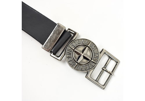 Stone Island Stone Island black leather belt with embossed compass buckle 105cm