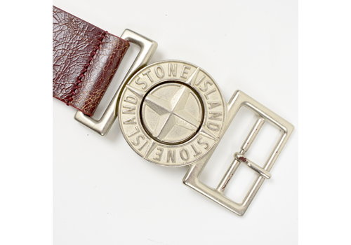 Stone Island Stone Island brown leather belt with embossed compass buckle 100cm