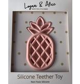 Logan & Alice Ananas Teether Babyroze  Bijtfiguur