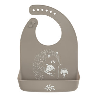 Bib Slab Mr Hedgehog Warm Grey