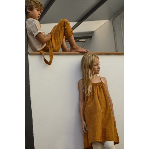Say Please Bruine zomer jurk met verstelbare bandjes