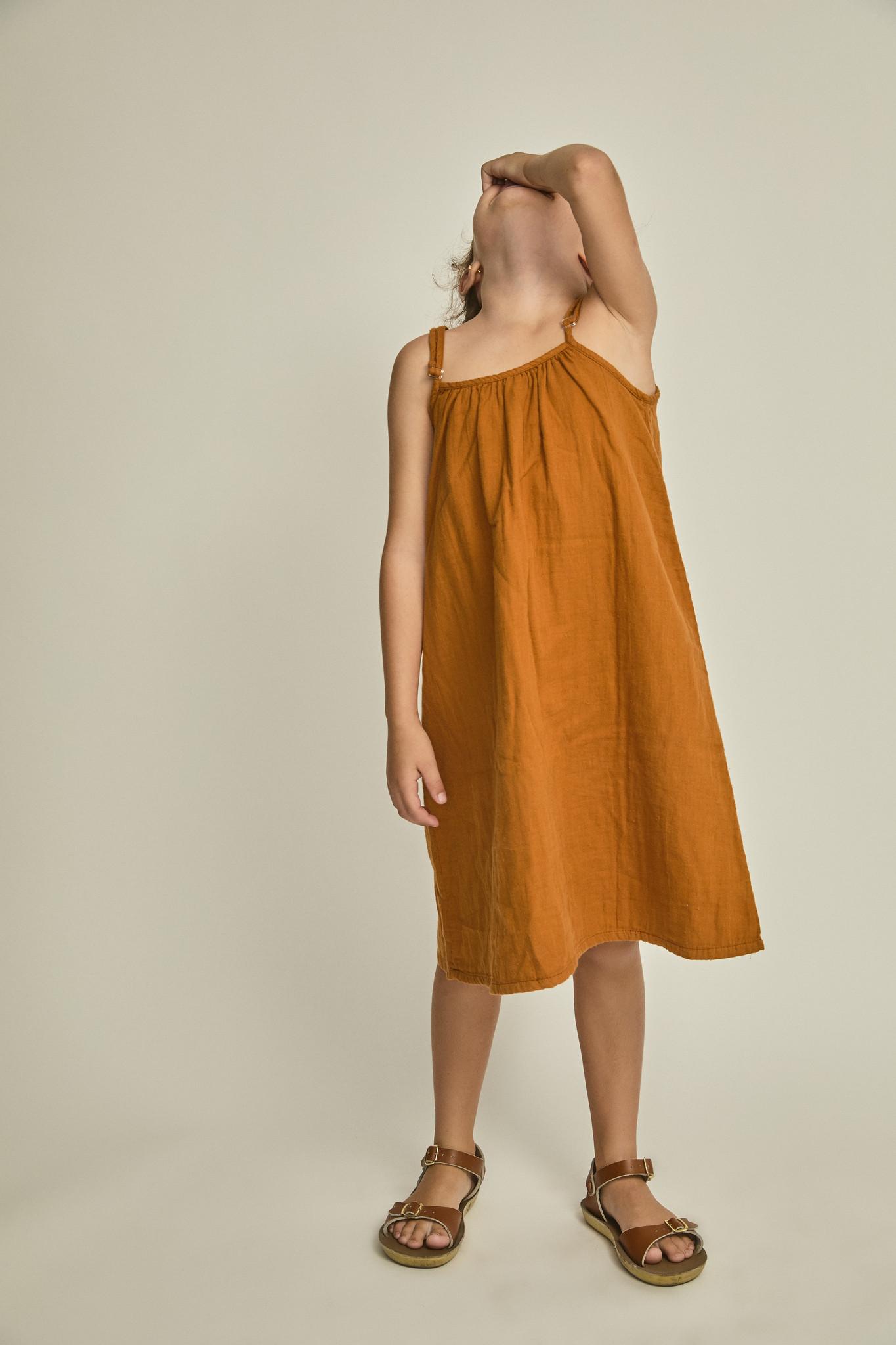 Beste Bruine zomer jurk met verstelbare bandjes - Bij & Mus DD-39