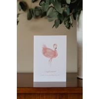 Dubbele kaart Gefeliciteerd - Flamingo