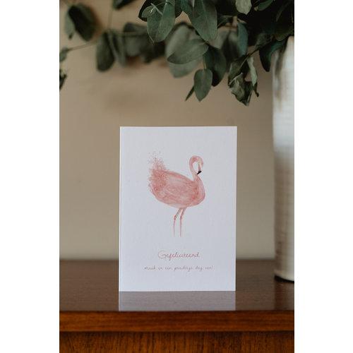 Bij & Mus Dubbele kaart Gefeliciteerd - Flamingo