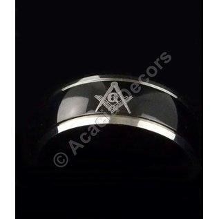 Ring RVS - zwart blinkend