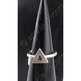 Silver ring with blue stone in triangle