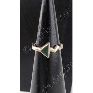 Anillo de plata con piedra triángulo malachite