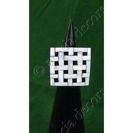 Ring zwart hout met nacré dambord