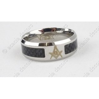 Stainless steel ring with black stones