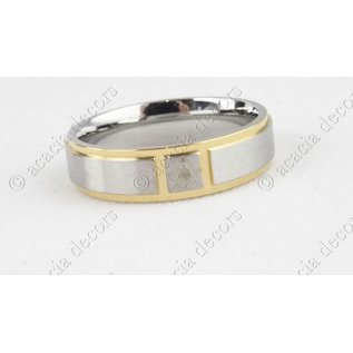 Stainless steel ring with brushed steel with gold