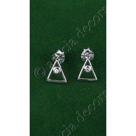 Boucles d'oreilles avec triangle et pierre décorative