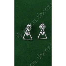 Earrings with triangle and decorative stone