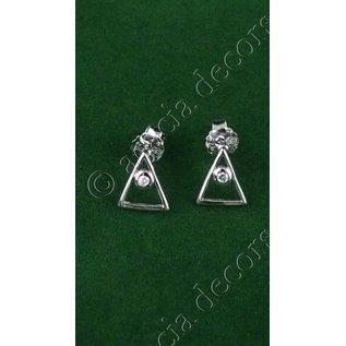 Oorbellen insteek met driehoek en siersteentje
