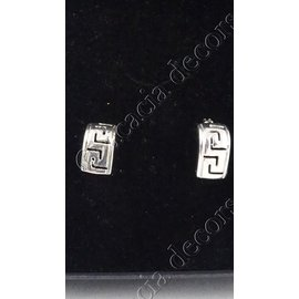 Earrings plug rectangular with motif
