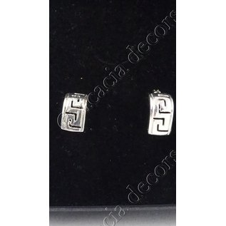 Boucle d'oreille insert rectangle avec motif