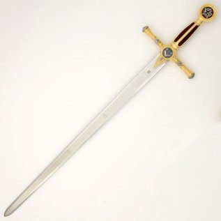 Sword with red handle with engravings
