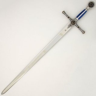 Sword with blue handle with engravings