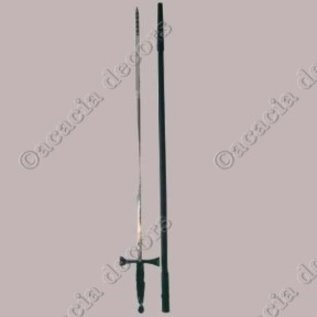 Fine sword with black handle with plastic sleeve