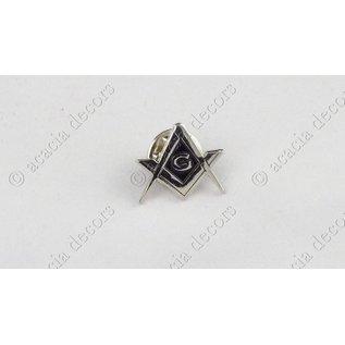 Pin  compas + G argent fonds noir