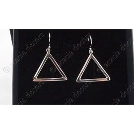Earrings open triangle silver 3.5 cm