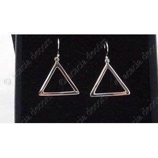 Oorbellen open driehoek zilver 3.5 cm
